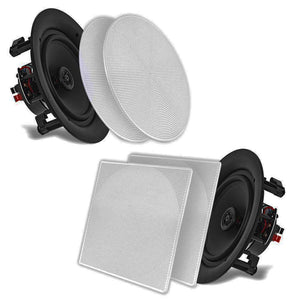 "Pyle PDIC106 10"" In-Wall / In-Ceiling Dual Stereo Speakers 250 Watt 2-Way Flush Mount White (Pair)"
