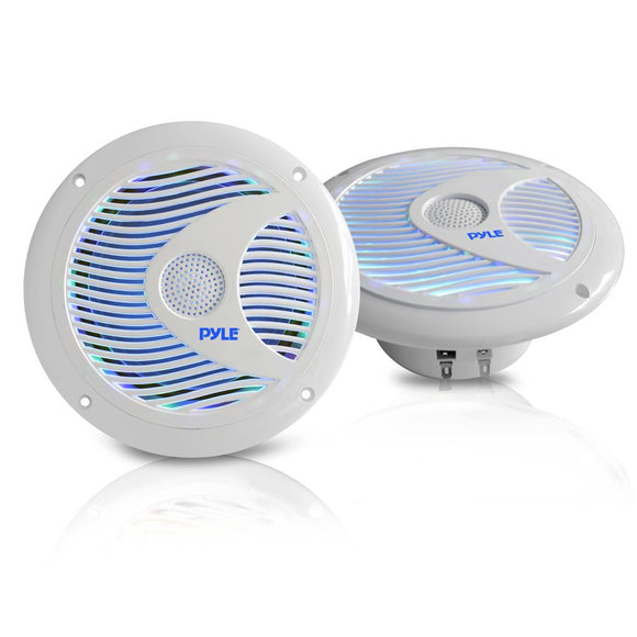 Pyle PLMR6LEW 6.5'' 150 Watt White Marine Speaker pair w/ LED Lights