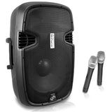 Pyle PPHP129WMU 12'' 1000 Watt Bluetooth Portable Loudspeaker System w/ Built-in Rechargeable Battery & 2 Wireless Mics