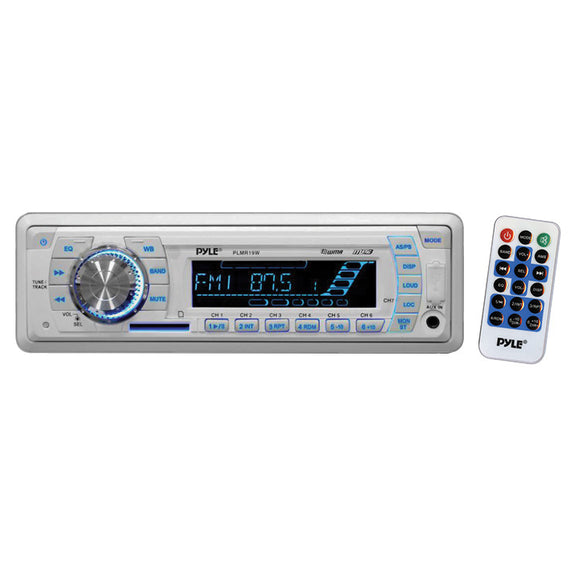 Pyle PLMR19W White MP3 USB Weatherband Marine Stereo w/ Front Aux Input