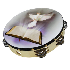 "Nippon ATMDOV8 8"" Dove and Bible Tambourine"