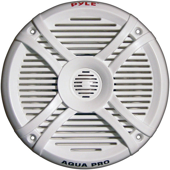 Pyle Dual 6.5'' Water Resistant Marine Speakers, 2-Way Full Range Stereo Sound, 250 Watt, White (Pair)