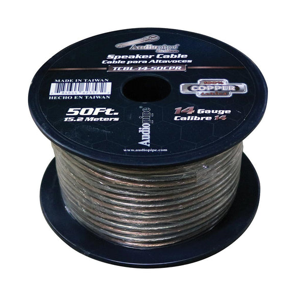 Audiopipe 14 Gauge 100% Copper Series Speaker Wire - 50 Foot Roll - Clear PVC Jacket