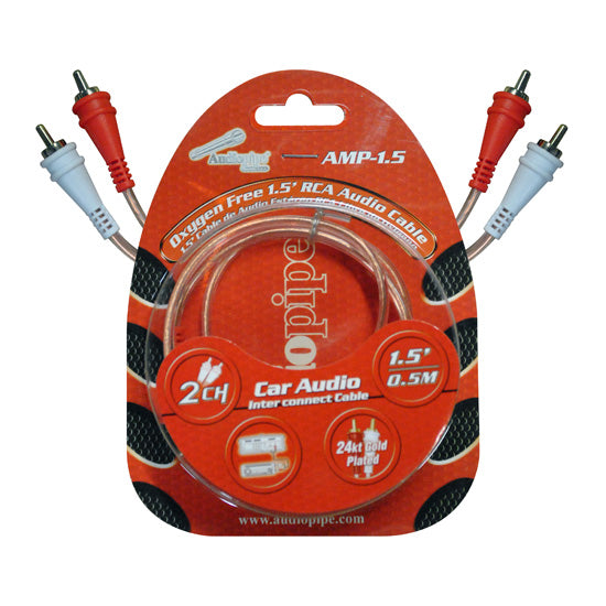 Audiopipe Amp1.5 1.5 Clear Jacket Installer Series Rca Cable