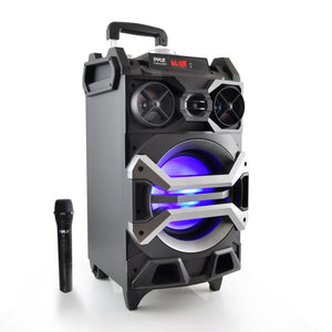 Pyle PWMA325BT Portable Bluetooth Karaoke Speaker System, PA Loudspeaker with Flashing DJ Lights