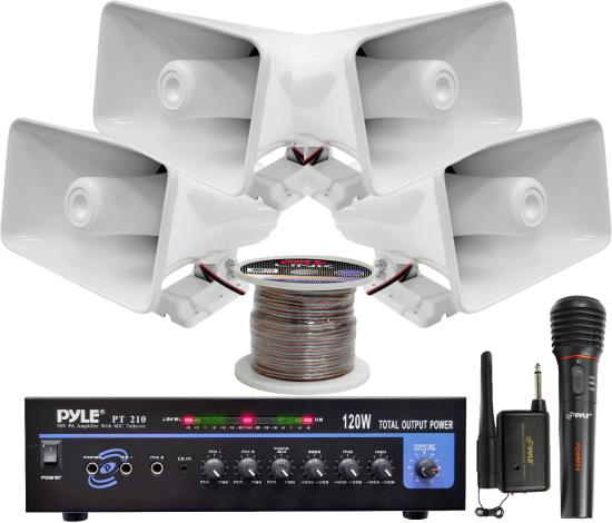 Pyle KTHSP330 120 W PA Amplifier System w/ Horn Speakers Wireless Microphone