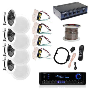 "4 Pairs 150W 5.25"" Wall / Ceiling White Speakers w/ 300W Receiver 4 Vol Controls"