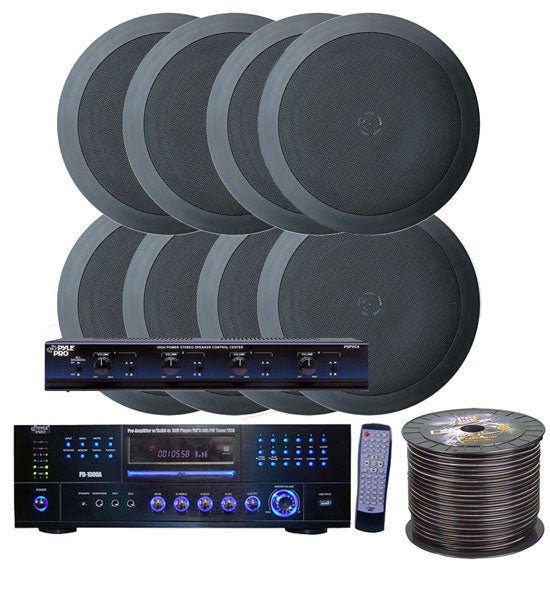 4 Room Home In-Ceiling Speakers W/DVD/MP3 Amp System (Black)