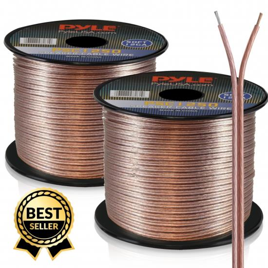 Pyle PSC1250 12 Gauge 50 ft. Spool of High Quality Speaker Wire