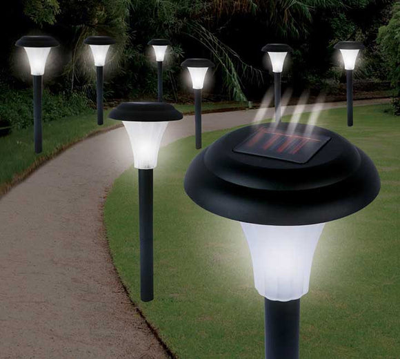 Jobar Ideaworks Solar-Powered LED Accent Light Set of 8 Black