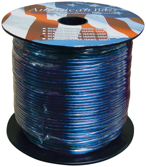 American Bass 18500 18 Gauge 500 Foot ft Blue Remote Wire