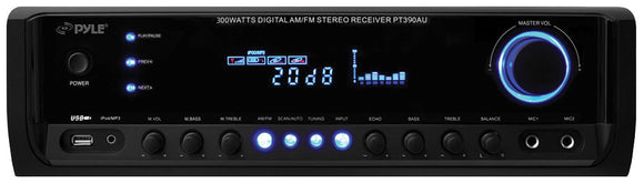 Pyle PT390AU 300 Watt Stereo Receiver, Aux (3.5mm) Input, MP3/USB/AM/FM Radio, (2) Mic Inputs