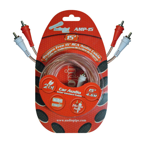 Audiopipe Amp15 15 Clear Jacket Installer Series Rca Cable