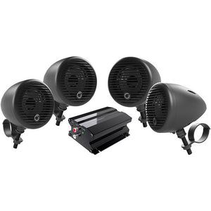 "Planet Audio PMC4B Motorcycle/ATV System w/ BT 2 pairs 3"" Matte Black Speakers"