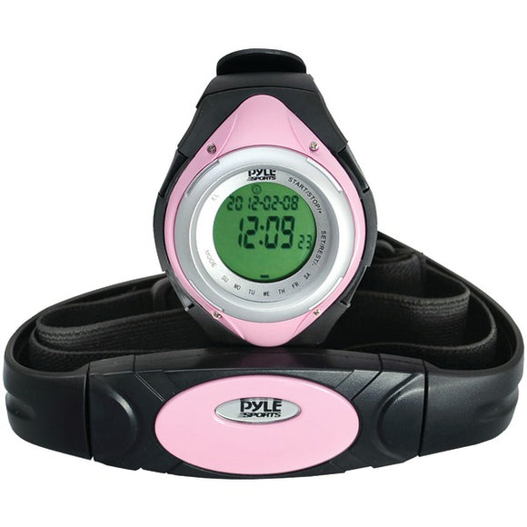 Pyle PHRM38PN Heart Rate Monitor Watch w/ Min, Average & Max Heart Rate (Pink)