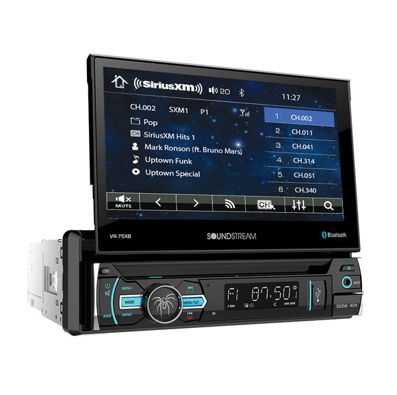 SoundStream VR75XB 1-DIN AptiX Source Unit SXM Ready w/ Bluetooth & 7