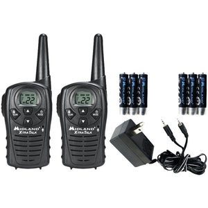 Midland LXT118VP 18-Mile GMRS Radio Pair w/ Charger & Rechargeable Batteries