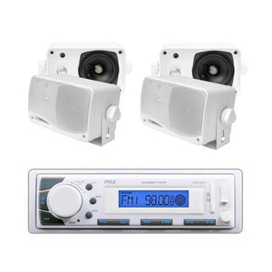 "Pyle In-Dash Marine AM/FM USB/SD Stereo MP3 & 4 x 3.5"" 200W Speakers"