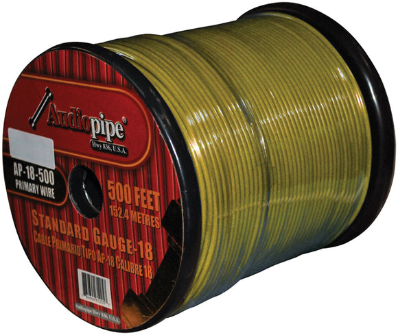 AUDIOP AP18500YW 18 Gauge 500 ft. Spool Car Audio Remote Wire - Yellow