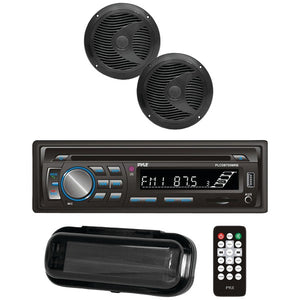 "Pyle PLCDBT75MRB Marine CD AM/FM Receiver w/ 2 6.5"" Speakers, Cover & BT (Black)"