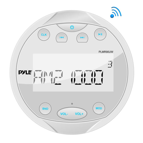 Pyle PLMR90UW Round White Digital Media Bluetooth Receiver Stereo Radio