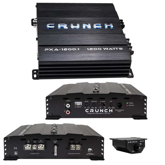 Crunch PXA12001 Mono Amp 1200 Watt 2 Ohm Stable with Bass Remote