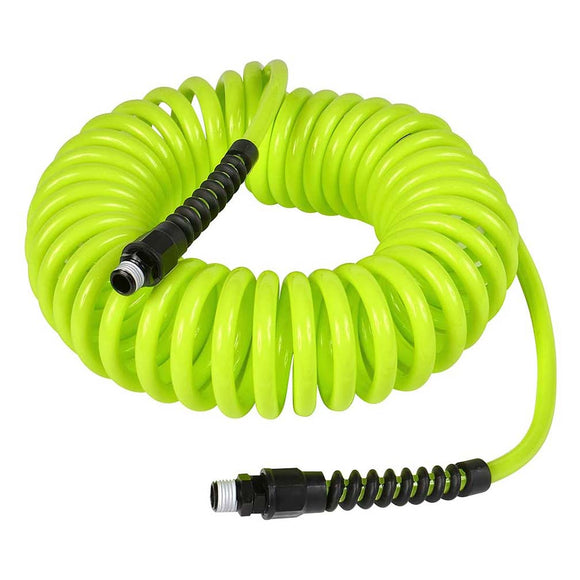 Flexzilla LP1425AFZ Polyurethane Recoil Hose 1/4In X 25Ft W/ 1/4In MNPT Fittings