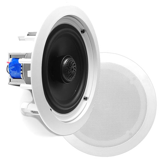 Pyle PDIC80T In-Wall / Ceiling Dual 8-inch Speaker System 70V Flush Mount White