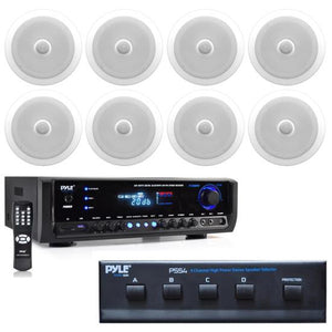 "In-Wall / Ceiling 8"" Speaker System (8) White Bluetooth Stereo Receiver MP3"
