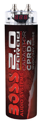 Boss Audio CPRD2 2 Farad Capacitor w/ Digital Voltage Display Red