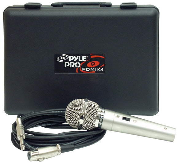 Pyle PDMIK4 Handheld Microphone w/ 15' ft. XLR Cable & Carry Case