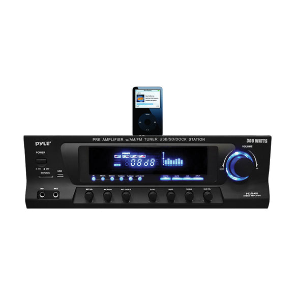Pyle PT270AIU 300 Watt AM/FM Receiver w/ iPod Docking Station