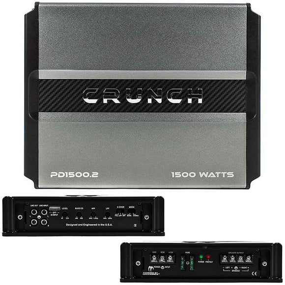 Crunch PD 1500.2 Power Drive Bridgeable Amplifier 1500 Watts Max Class Ab 2-channel