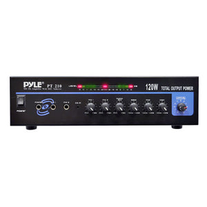 Pyle PT210 120 WATT MICROPHONE PA Mono Amplifier w/70V Output & Mic Talkover