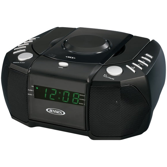 JENSEN JCR-310 Dual Alarm Clock AM/FM Stereo Radio with Top-Loading CD Player