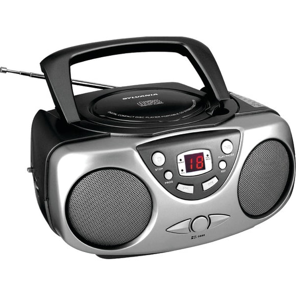 Sylvania SRCD243 Portable CD Player with AM/FM Radio Black Boombox