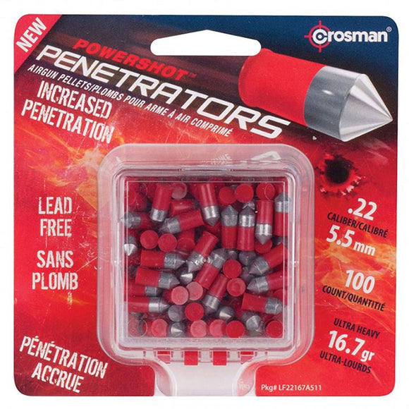 CROSMAN Powershot Red Flight Penetrator (Red).22 Caliber 16.7 Grain 100 Count