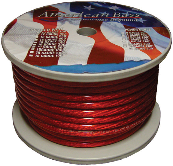 American Bass 8gr Red 8 Ga 100 Spool Car Audio Translucent Power Wire