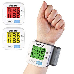 WrisTech JB7608 Blood Pressure Monitor with Adjustable Wrist Cuff Color Changing LCD Monitor