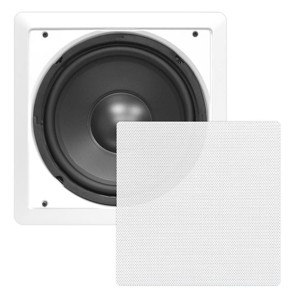 Pyle PDIWS10 10'' 360 Watt White Wall Ceiling DVC Subwoofer