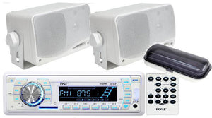"Pyle In-Dash Marine USB/SD Stereo MP3 & 2 x 3.5"" 200W Speakers & Remote"