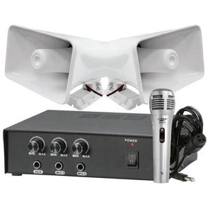 Pyle KTPMSA20HM 50 Watt PA Power Amplifier w/ 65W 8'' Indoor / Outdoor Speaker pair & Handheld Microphone