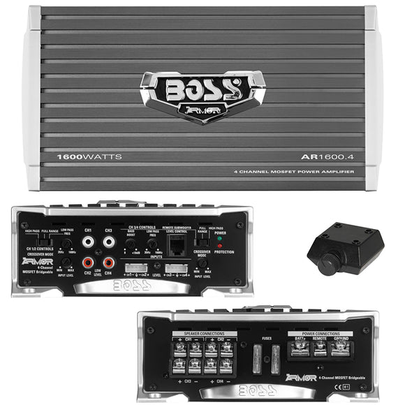 BOSS AUDIO AR1600.4 Armor 1600-Watt Full Range, Class A/B 2-8 Ohm Stable 4 Channel Amplifier with Remote Subwoofer Level Control