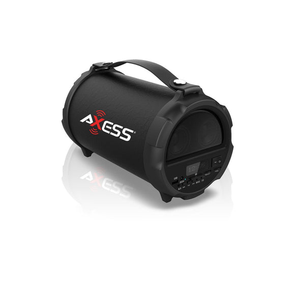 Axess SPBT1037BK Bluetooth Hi-Fi Cylinder Loud Speaker 4 Inch Sub Vibrating Disk SD Card USB AUX Inputs Black