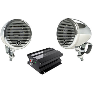 "Planet Audio PMC2C Motorcycle/ATV System w/ Bluetooth pair of 3"" Chrome Speakers"