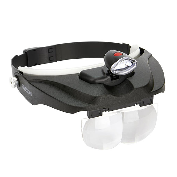 Carson CP60 LED Lighted Head Visor Magnifier 1.5x2x2.5x3x