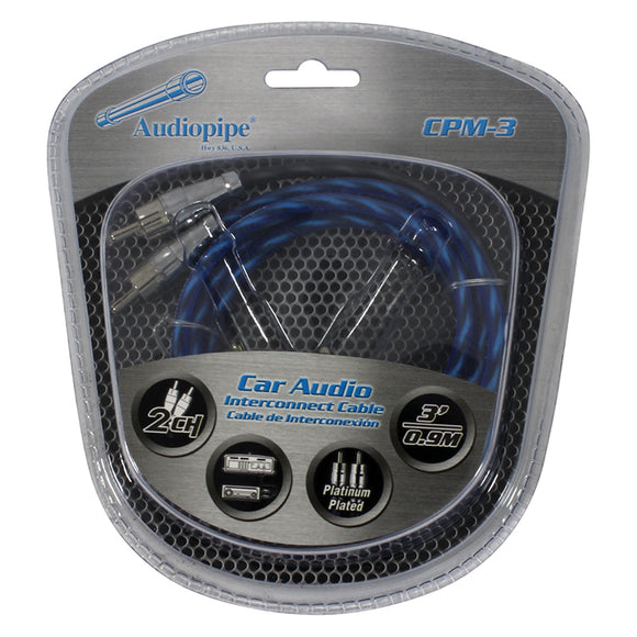 Audiopipe CPM3 3 foot Platinum Plated Interconnect Cable