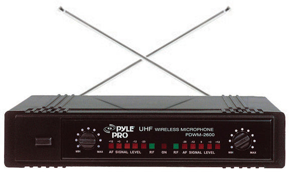 Pyle PDWM2700 2 Channel VHF Wireless Microphone System w/ Headset Microphone & Belt Pack Transmitter