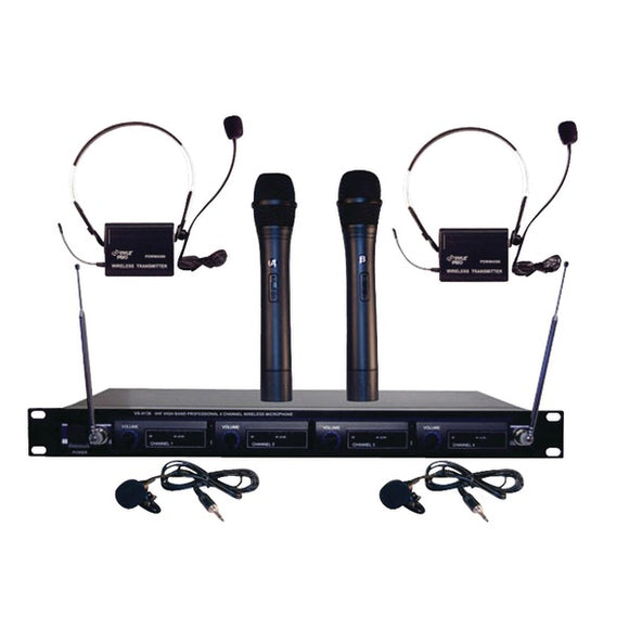 Pyle PDWM4300 VHF Wireless Rack Mount Microphone System with (2) Handheld Mics (2) Belt Pack Transmitters (2) Lavalier & (2) Headset Mics