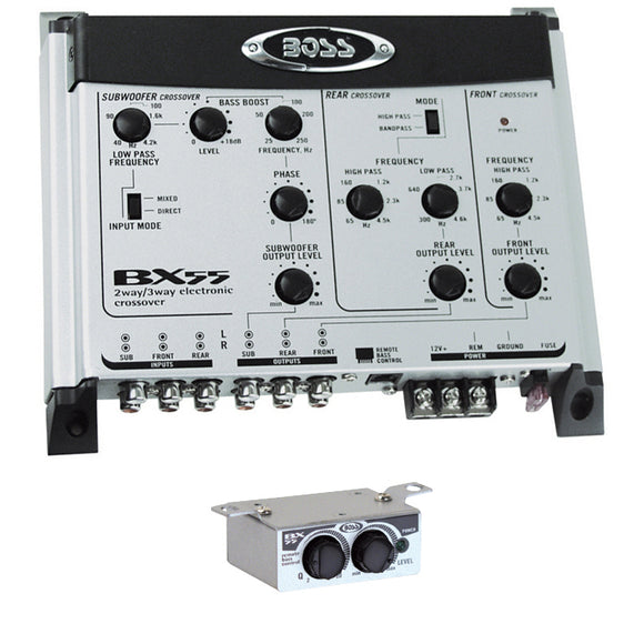 BOSS AUDIO BX55 2/3-way Pre-Amp Electronic Crossover with Remote Subwoofer Level Control